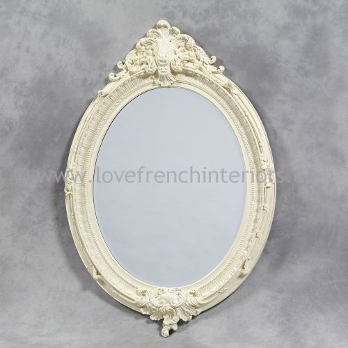 Antique White Oval French Mirror